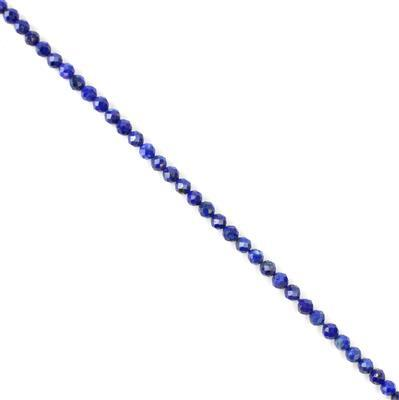 10cts Lapis Lazuli Faceted Rounds Approx 3mm, 30cm strand