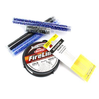 True Blue; Miyuki Seedbeads 6/0, 8/0, 11/0 and Half Tilas, Fireline and Needles Size 10