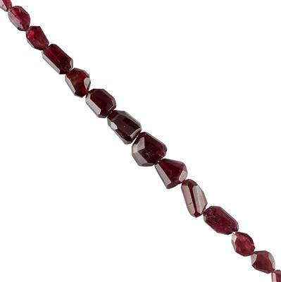 140cts Garnet Graduated Faceted Medium Nuggets 8x6 to 17x12mm, 18cm Strand.