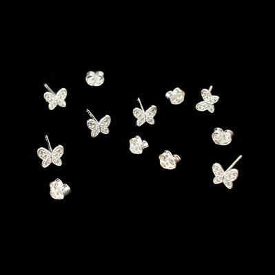 925 Sterling Silver and Cubic Zirconia Spring Butterfly Earring with butterfly back Approx 6x5mm 3 Pairs