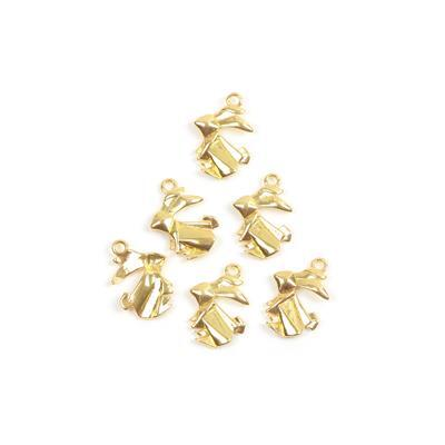 Gold Colour Base Metal Origami Rabbit Charms Approx 17x12mm(6pcs)