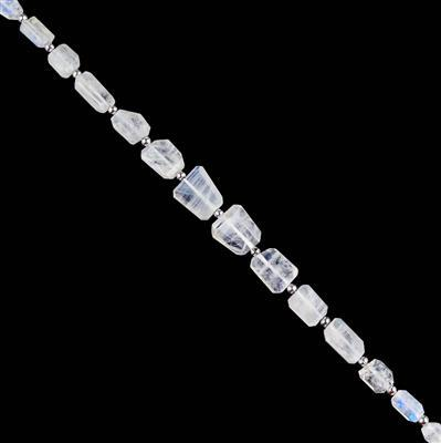 75cts Rainbow Moonstone Graduated Faceted Nuggets Approx 7x6 to 13x12mm, 18cm Strand.