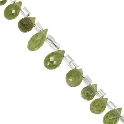 23cts Peridot Faceted Drop Approx 5x3.5mm to 8.5x4mm 20cm Strand with Spacers