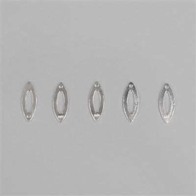 925 Sterling Silver Plain Leaf Charms Approx 15x5mm, 5pcs