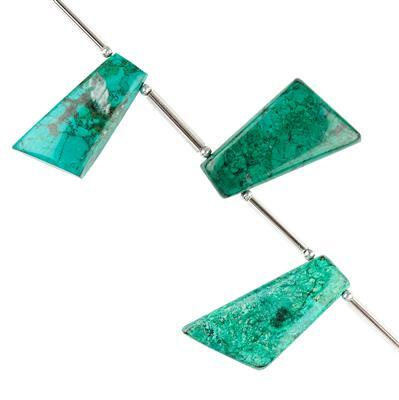 45cts Chrysocolla Graduated Plain Fancy Shapes Approx 20x8 to 24x13mm,(Pack of 3)