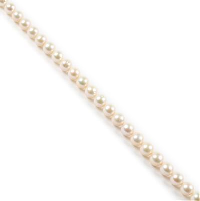 White Freshwater Cultured Pearl Rounds Approx 6mm, 38cm Strand