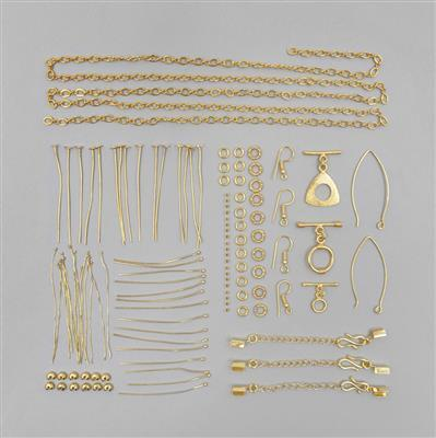Gold Plated Copper Essential Finding Kit Organza Bag, Approx 118 Pcs.