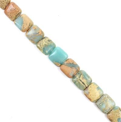 210cts Snake Skin Jasper Puffy Squares Approx 12mm, Approx 38cm/strand