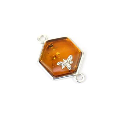 Baltic Cognac Amber Hexagon Bees Connector Approx 13x18mm Sterling Silver