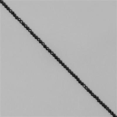 7cts Black Spinel Micro Faceted Rondelles Approx 2x1mm, 30cm Strand.