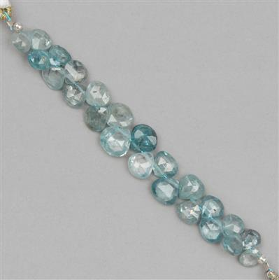 22cts Blue Zircon Graduated Faceted Drops Approx 4 to 7mm, 6cm Strand.