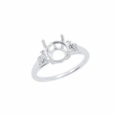 Size 7- 925 Sterling Silver Ring Round Mount Fits 8mm Inc. 0.05cts White Topaz Brilliant Cut Rounds 1mm.