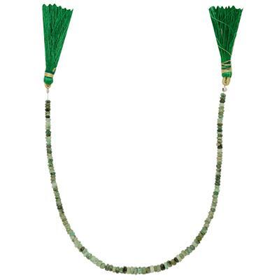30cts Emerald Graduated Faceted Rondelles Approx From 3x1 to 5x2mm, 25cm Strand.