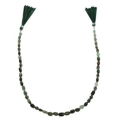 80cts Emerald Graduated Irregular Plain Ovals Approx 6x4 to 10x7mm, 37cm Strand.