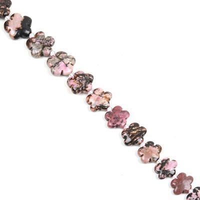 280cts Rhodonite Five-Petal Flower Appox 15mm, 27pcs/strand