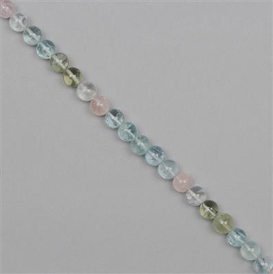 53cts Multi-Colour Beryl Graduated Plain Rounds Approx From 5 to 6mm, 18cm Strand.