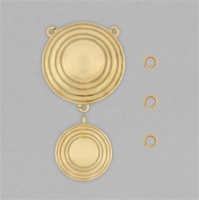 High Polished Brass Round Dangling Pendant Connectors Set - (5pcs/pk)