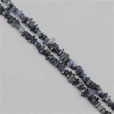 190cts Sapphire Graduated Rough Nuggets Approx From 2x1 to 9x1mm, 100cm Strand.