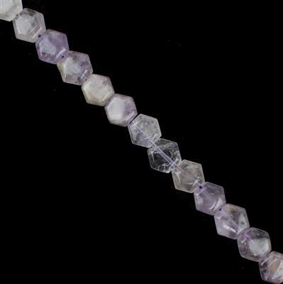 150cts Lavender Amethyst Hexagons Approx 11x10mm, 38cm Strand