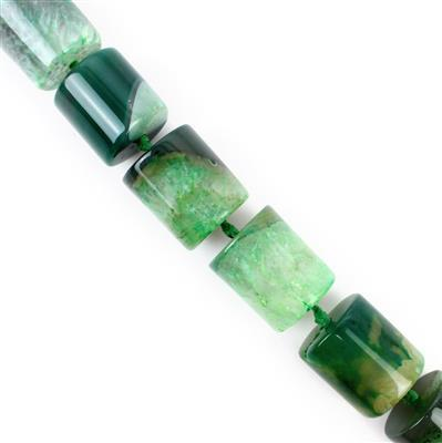 1250cts Green Agate Cylinders Approx 19x20 - 20x25mm , 38cm strand