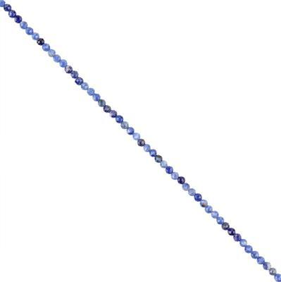 10cts Sodalite Micro Faceted Rounds 3mm, 28cm Strand.