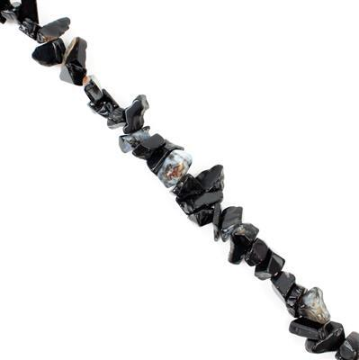 260cts Black Agate Small Nuggets Approx from 3x5 to 6x9mm, 82-86cm strand