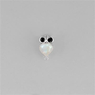 925 Sterling Silver Gemset Owl Connector Approx 15x8mm Inc. Rainbow Moonstone and Black Spinel.