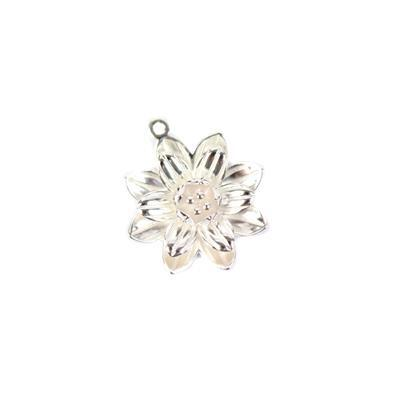 925 Sterling Silver 3D Lotus Flower Pendant Approx 18x20mm, 1pc
