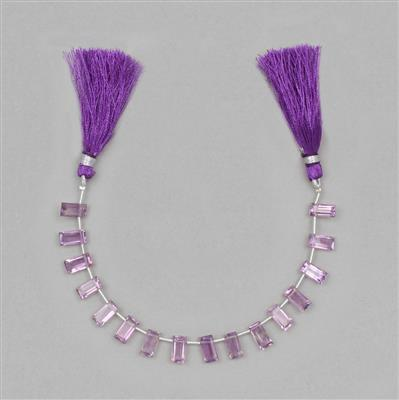 25cts Amethyst Step Cut Rectangles Approx 8x4 to 10x5mm, 14cm Strand.