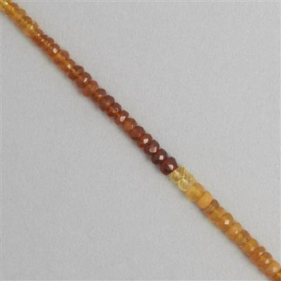 36cts American Fire Opal Graduated Faceted Rondelles Approx 2x1 to 4x2mm, 38cm Strand.