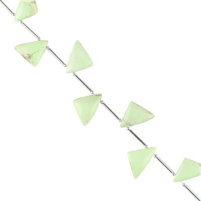 65cts Lemon Chrysoprase Graduated Plain Triangles Approx 15x11 to 18x13mm, 14cm Strand.