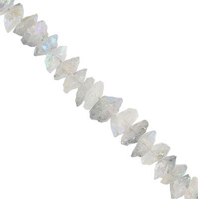 340cts Mystic Colour Coated Clear Quartz Graduated Hammered Saucers Approx 12 to 19mm, 18cm Strand.