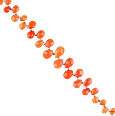 98cts Carnelian Graduated Faceted Pears Approx 8x6 to 14x11mm, 18cm Strand.