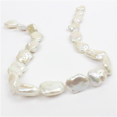 White Freshwater Cultured Baroque Pearls Approx 16x18 - 17x26mm, 38cm Strand