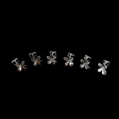 925 Sterling Silver Flower Earrings with Loop Approx 10mm 3 pairs