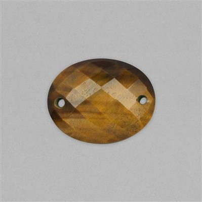 28cts Tiger Eye Double Side Drilled Faceted Oval Approx 25x20mm.