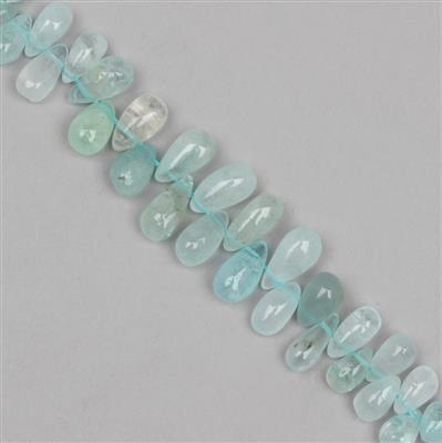 85cts Aquamarine Graduated Plain Drops Approx 5x4 to 13x6mm, 12cm Strand.