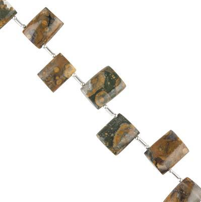 110cts Rhyolite Graduated Plain Flat Barrels Approx 14x10 to 18x12mm, 12cm Strand.
