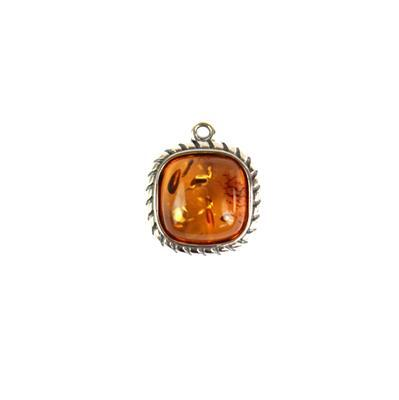 Baltic Cognac Amber Cabochon Cushion Pendant with Sterling Silver Element Approx 15x12mm