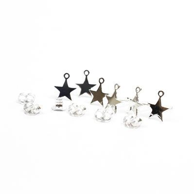 925 Sterling Silver Star Detail Stud Earrings with End Ring with Butterfly Backs Approx 7mm (3pairs)