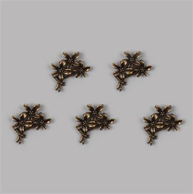 Antique Bronze Plated Oxidised Flower Charm - 28x21mm (5pcs/pk)