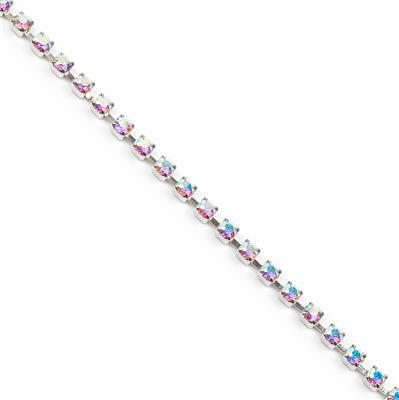 Swarovski Extended Cupchain, 27104, Crystal AB, Rhodium Brushed, PP32, 50cm