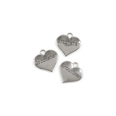Silver Colour Heart Charms Engraved With Groomsmen Approx 3cm 3pk