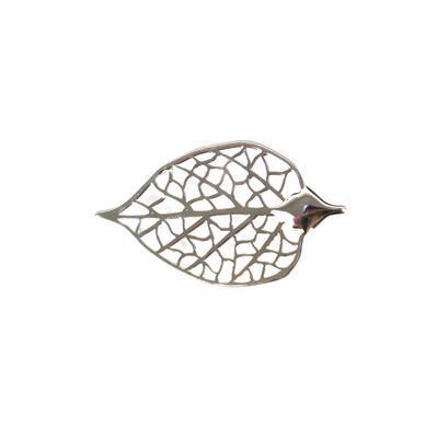 925 Sterling Silver Birch Filigree Leaf Charm 30x17mm, 1pc