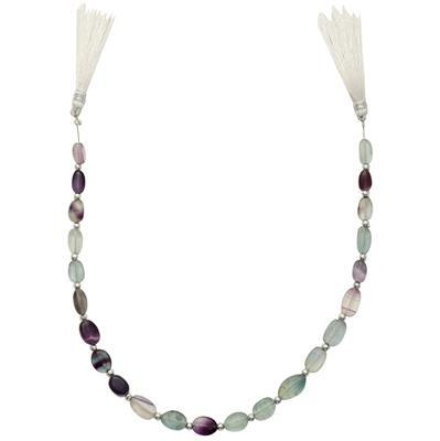 65cts Multi-Colour Fluorite Graduated Plain Ovals Approx From 8x5 to 11x8mm, 28cm strand.