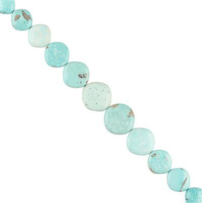 95cts Mongolian Turquoise Graduated Plain Cushion Approx 10 to 16mm, 14cm Strand.