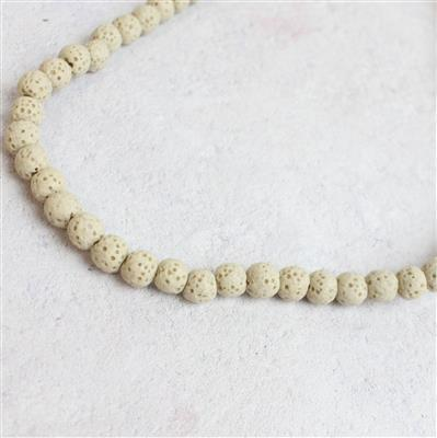 70cts Ivory Lava Rock Beads Rounds Approx 6x7mm 38cm
