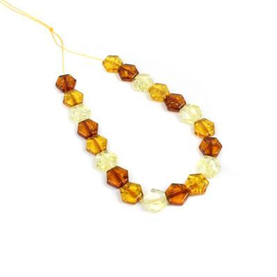 Baltic Ombre Amber Honeycomb Hexagon Beads Approx 10x11mm, Strand 20cm