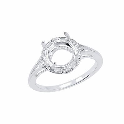 Size 7- 925 Sterling Silver Ring Round Mount Fits 8mm Inc. 0.04cts White Topaz Brilliant Cut Rounds 1mm.