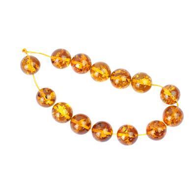 Baltic Cognac Amber Plain Rounds Approx 14mm 20cm